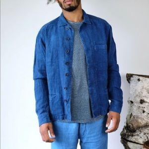 Bleu De Cocagne Natural Dye Blue Linen Work Jacket